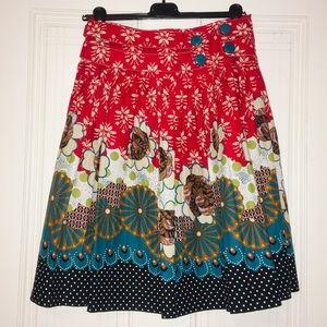 Retro A-line lined skirt
